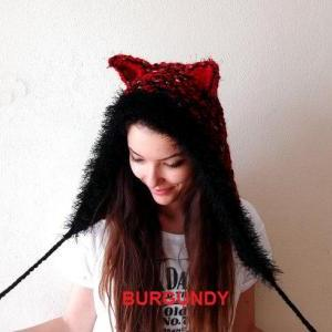 Hand Knitted Animal Ear Hoodie (Cat..