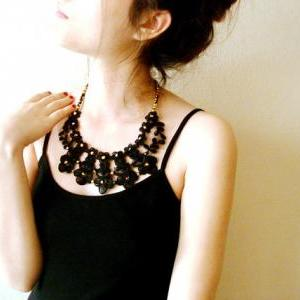 Black Lace Statement Necklace