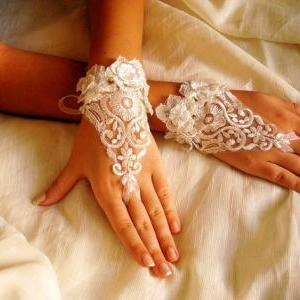 Victorian Lace Bridal Gloves, Ivory..
