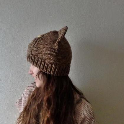 Hand Knitted Brown Kitty Cat Ears B..