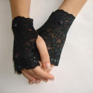 Black Lace fingerless gloves,Peacoc..
