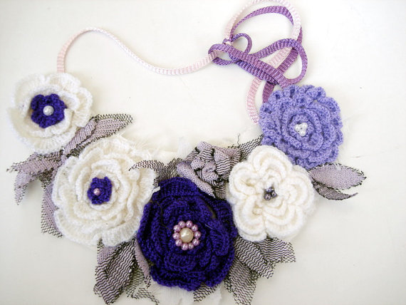 Cyber monday sale Crochet flowers bib necklaces tulle leaves and bead embroidery