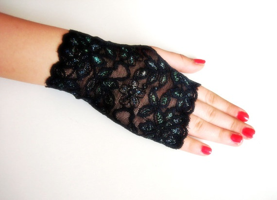 Black Lace fingerless gloves,Peacock green glittery Wedding Gloves