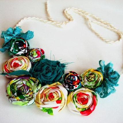 Green Tone Rosette Statement Necklace, Rolled Rosette Bib Necklace